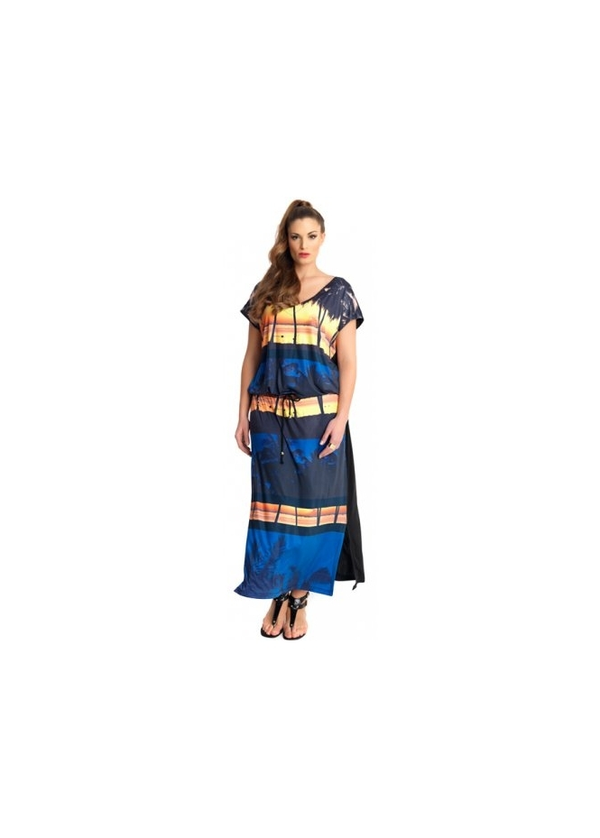 MAT Fashion Hutu Beach Sunset Print Waist Tie Maxi Dress