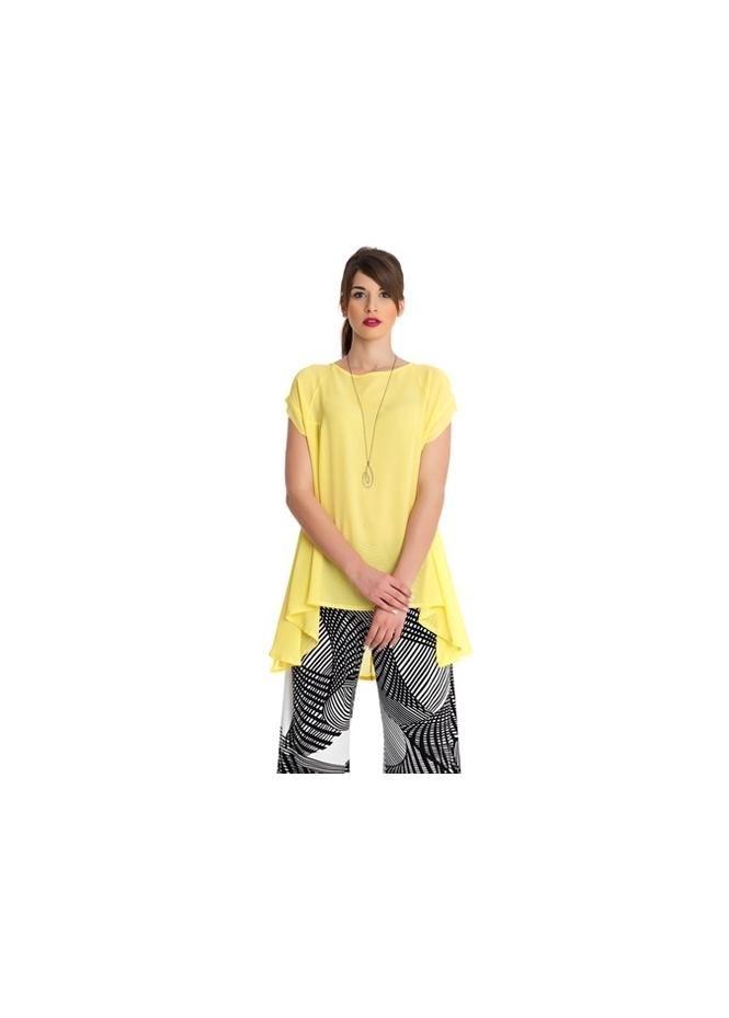 MAT Fashion Yoruba Yellow Stretch Chiffon Dip Side Tunic Top