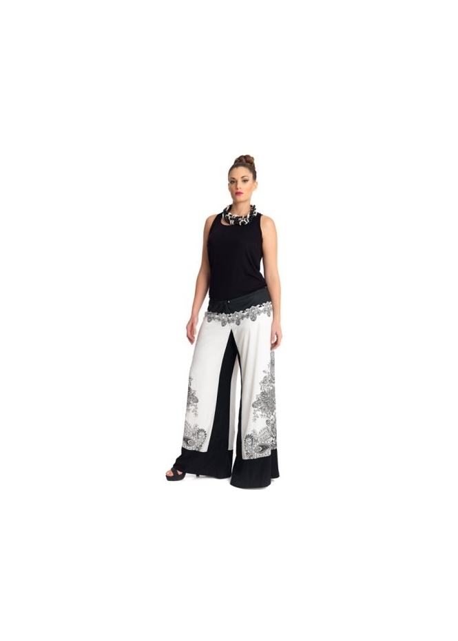 MAT Fashion Black & Ivory Paisley Print Wide Leg Trousers