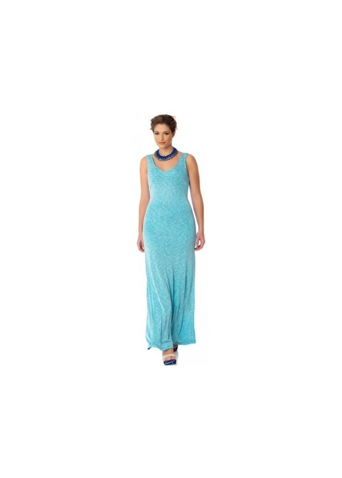 MAT Fashion Turquoise Melange Jersey Sleeveless Maxi Dress