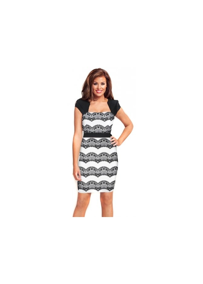 Jessica Wright Black & White Eyelash Lace Body Con Hannah Dress