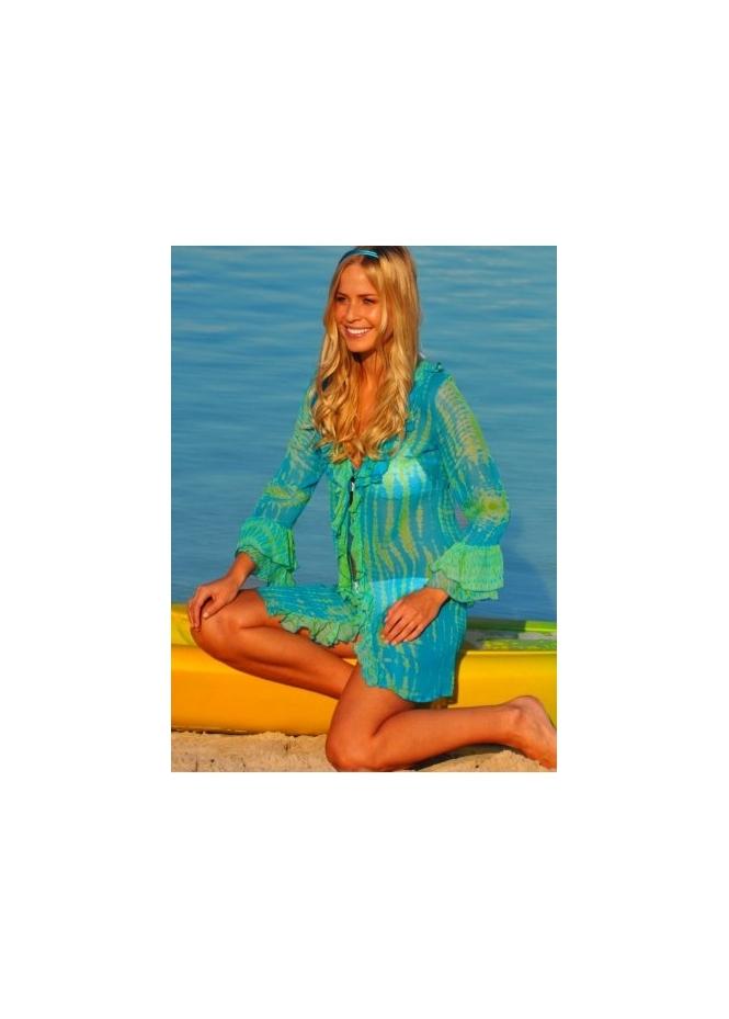 StarBlu Santiago Blue & Green Silk Beach Kaftan Cover Up