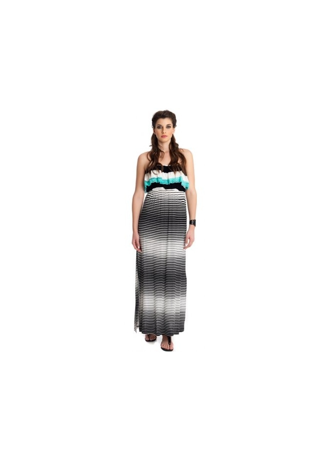 MAT Fashion Monochrome Striped Bandeau Jersey Maxi Dress