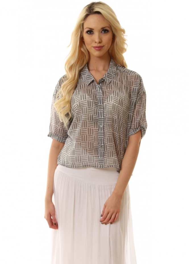 Dr Denim Bonnie Square Print Light Grey Cropped Shirt