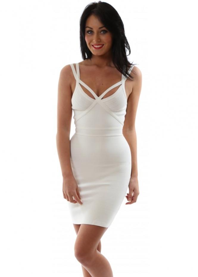 Eitherside Bandage Dress White Strappy Harvyn Bandage Dress