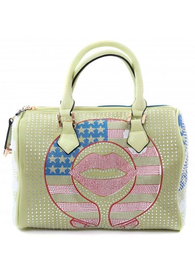 Designer Desirables Green Crystal Embellished American Flag Bowler Tote Bag