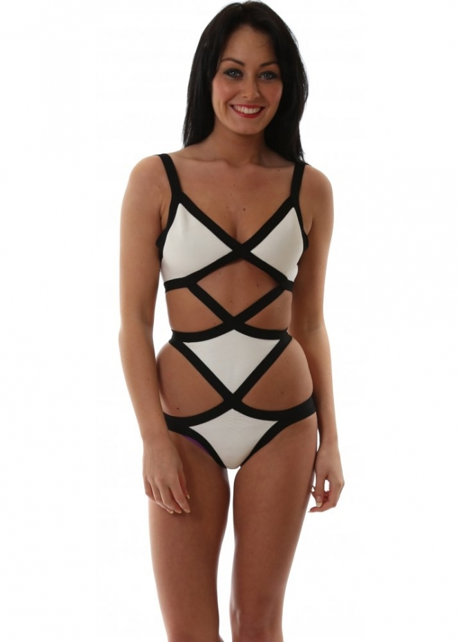 Eitherside Black Label Meyer Bandage White & Black Swimsuit