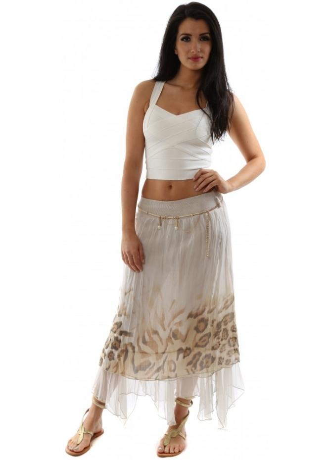 What Is Voodoo >> Monton Skirt | Beige Leopard Layered Silk Maxi Skirt ...