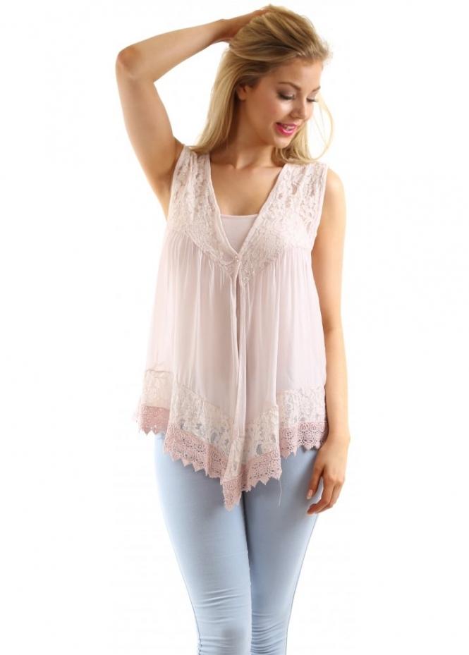 J Amp L Paris Top Pretty Pink Silk Amp Lace Gilet Amp Vest Top