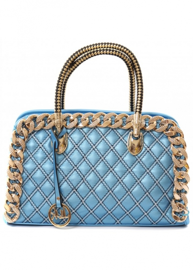 Designer Desirables Madalyn Gold Chain Blue Faux Leather Quilted Handbag