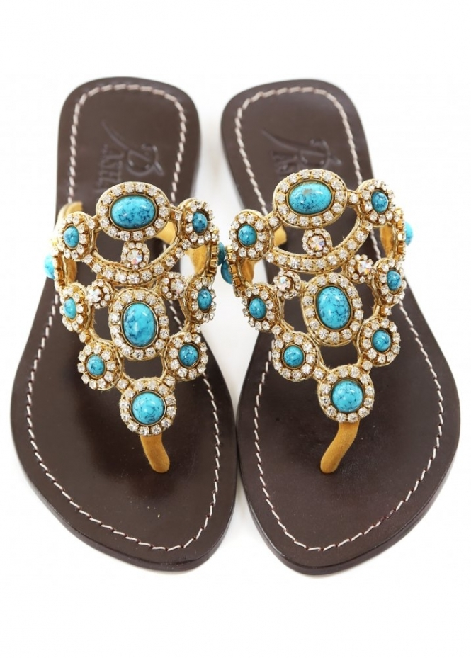 Pasha Las Palmas Gold & Turquoise Czech Crystal Jewelled Flat Sandals