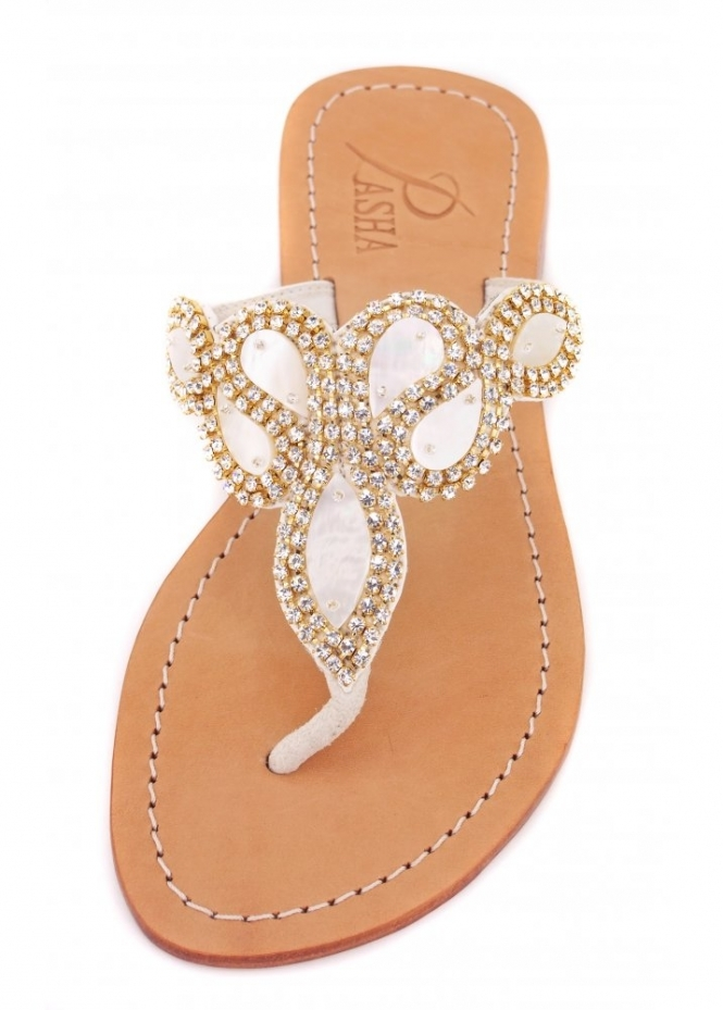 Pasha Hawaii Abalone & Gold Czech Crystal Embellished Flat Sandals