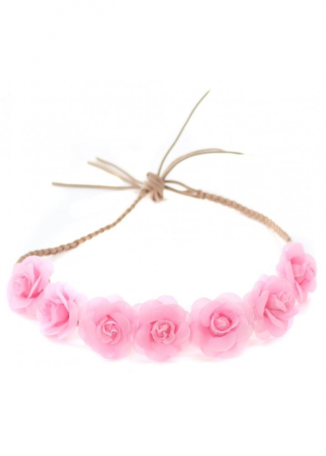 Designer Desirables Baby Pink Small Roses Plaited Suede Tie Head Band