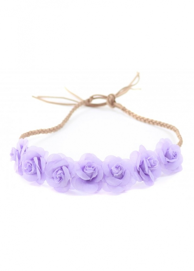 Designer Desirables Purple Small Roses Plaited Suede Tie Head Band
