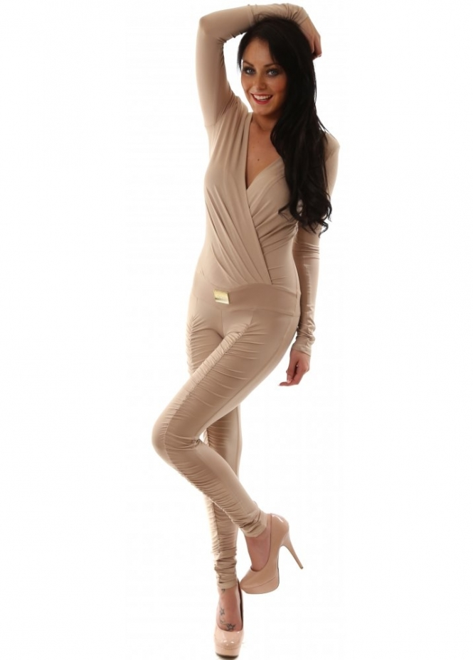 Just Unique Katya Beige Plunge Front Ruched Gold Plaque Jumpsuit