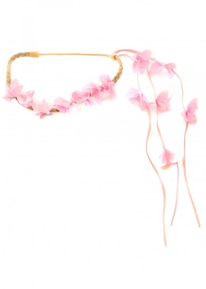 Designer Desirables Pink Floral Head Band With Floral Side Tassel