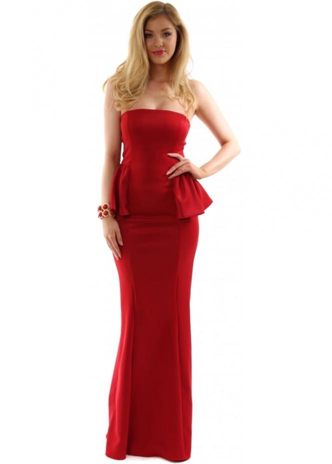 Goddess London Designer Maxi Dress Red Peplum Strapless
