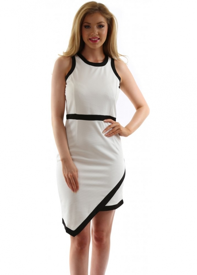 Stella Morgan White & Black Trim Wrap Front Dress