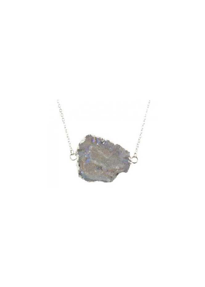 Designer Desirables Iridescent Grey Agate Druzy Necklace Edged In Silver