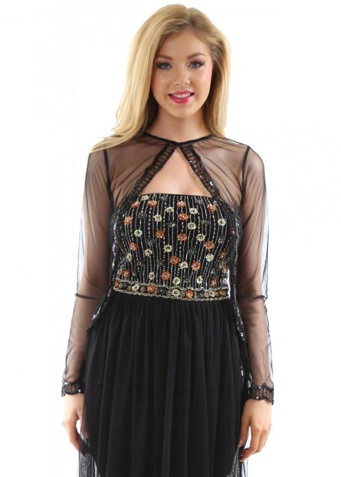 Cotton club cover up black sequin mesh bloero cardigan for Designer bolero