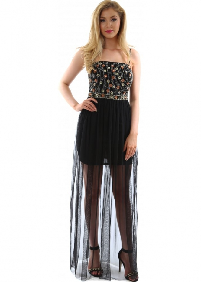 Goddess London Evening Dress Black Sequin Amp Bead Evening