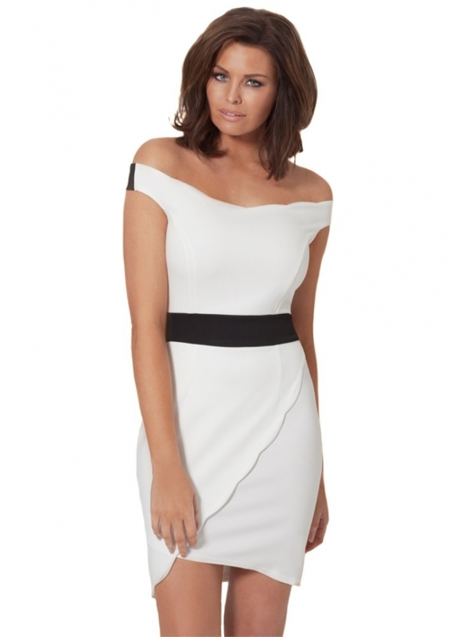 Jessica Wright Aimee Off The Shoulder White Wrap Front Dress