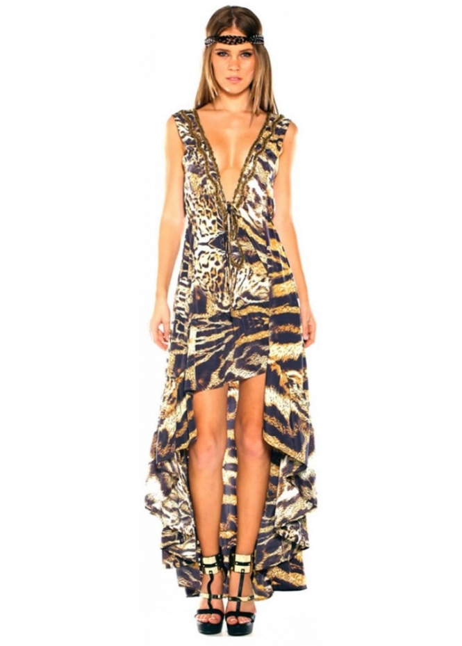 Parides Hi Lo Safari Animal Print Dress Designer Parides