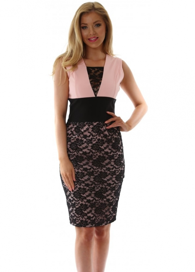 Tempest Paris Nude Pink & Black Lace Panel V-Neck Pencil Dress