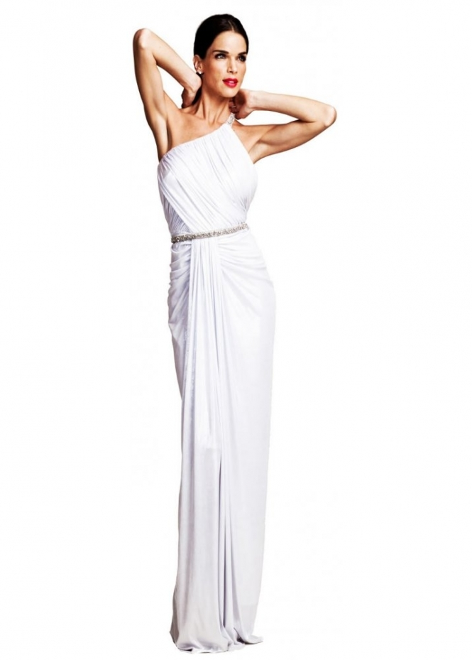 Nicole Bakti Evening Dress In White Grecian Style With Crystals