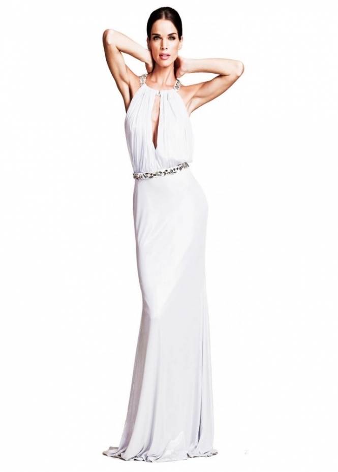 Nicole Bakti White Crystal Back Grecian Style Evening Dress