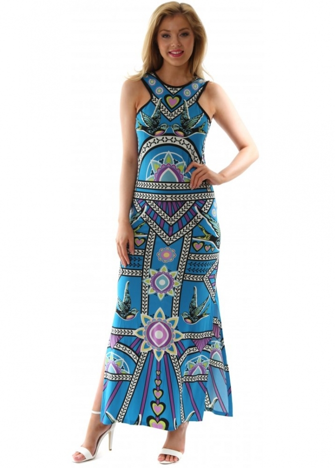 Turquoise Blue Printed Maxi Dress Summer Sleeveless Maxi