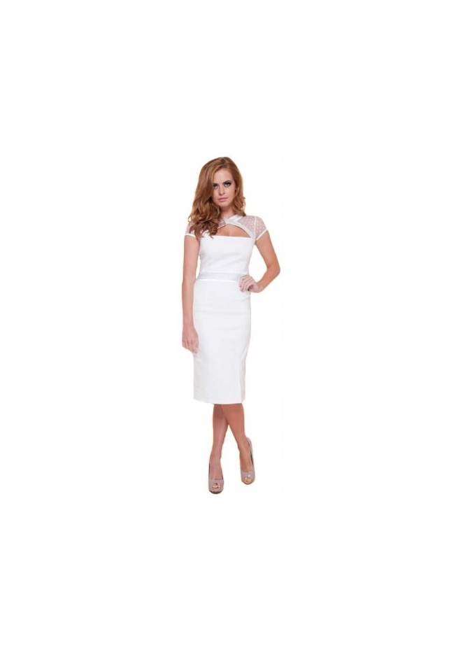 Tempest Gigi Cream Cut Out Mesh Neckline Pencil Dress