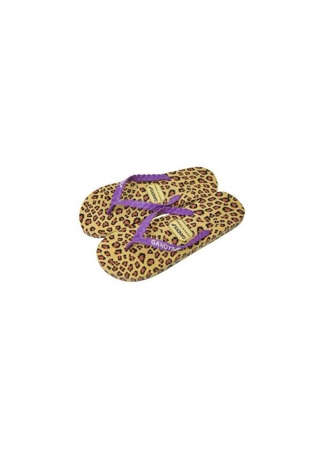 Gandys Printz Leopard Print Purple Strap Flip Flops