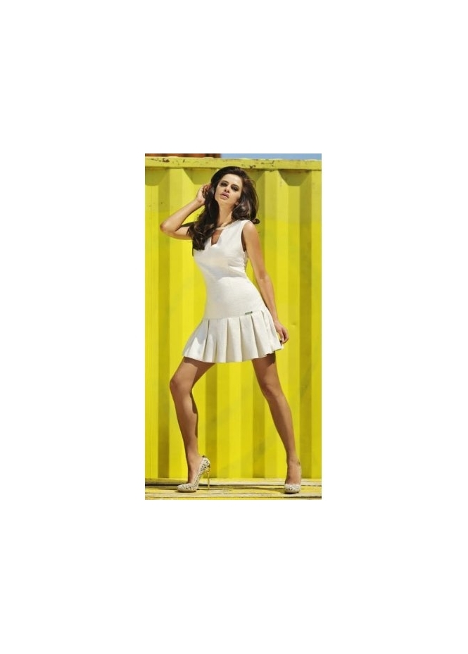 Just Unique Faye Cream Box Pleat Dress With Chain Necklace
