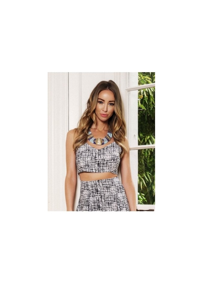 Lauren Pope Mottled Print Strappy Crop Top