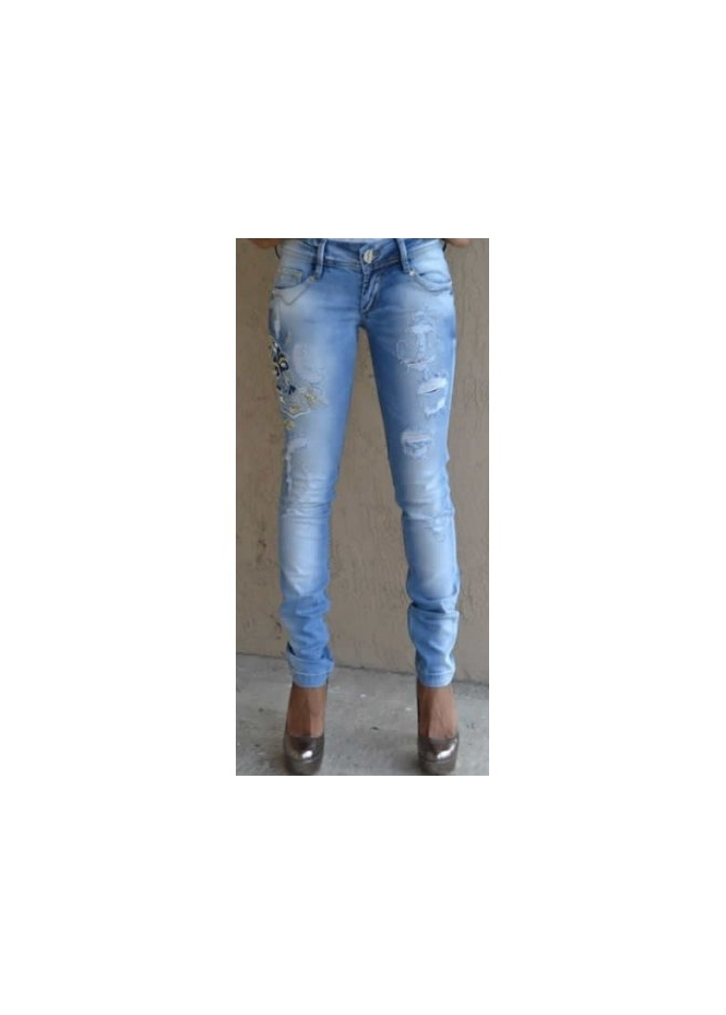 Dishe Viki Pearls & Crystal Skull Distressed Skinny Jeans