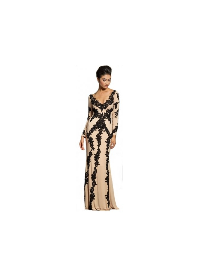 Jovani 20578 Nude & Black Lace Long Sleeve Evening Gown