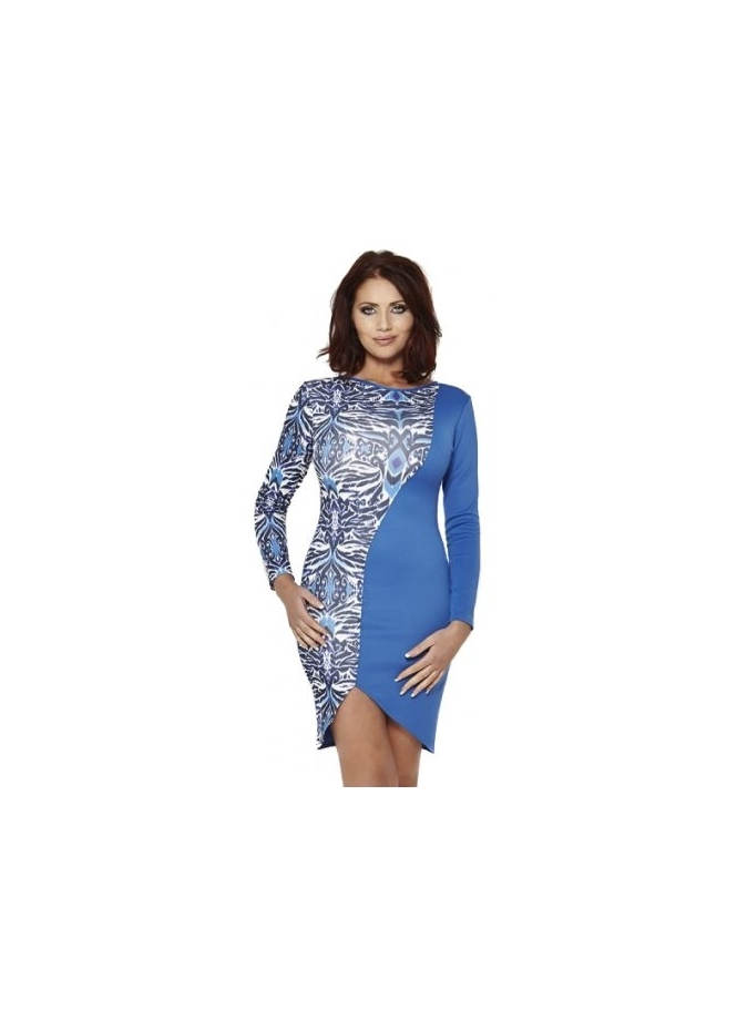 Amy Childs Geometric Printed Asymmetric Long Sleeve Statement Claudia Dress