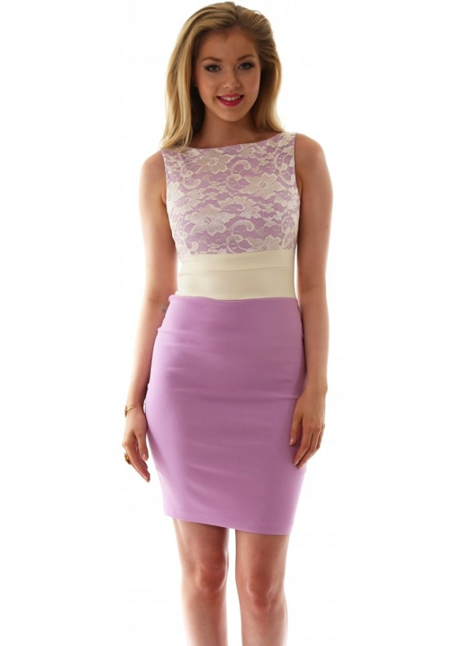 Vesper Hazel Dress In Lilac With Ivory Lace Bodice & Waistband