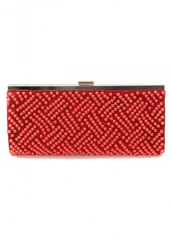 Designer Desirables Red Pearl Clutch Bag With Silver Clasp & Chain