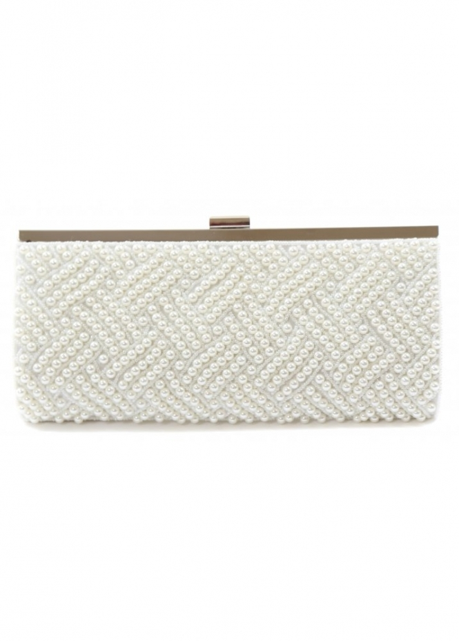 Designer Desirables Ivory White Pearl Clutch Bag With Silver Clasp & Chain