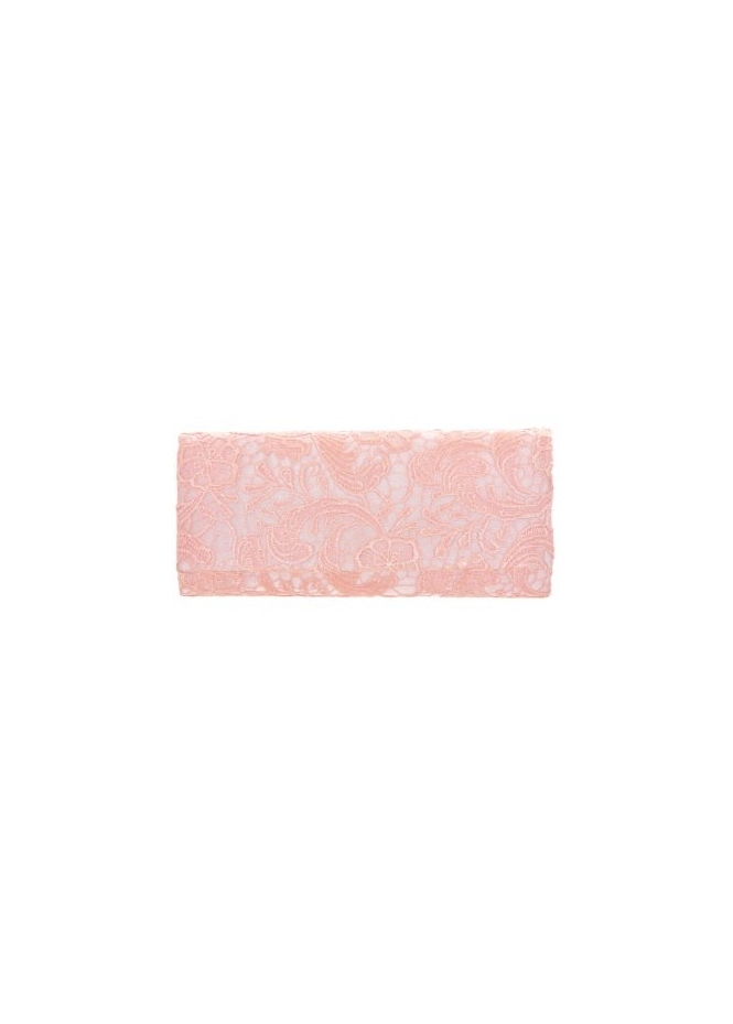 Designer Desirables Box Clutch Bag In Baby Pink Lace With Chain Strap