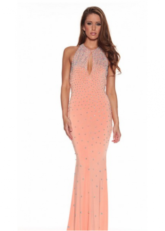 Holt Justina Crystal Ball Coral Pink Halter Neck Evening Dress