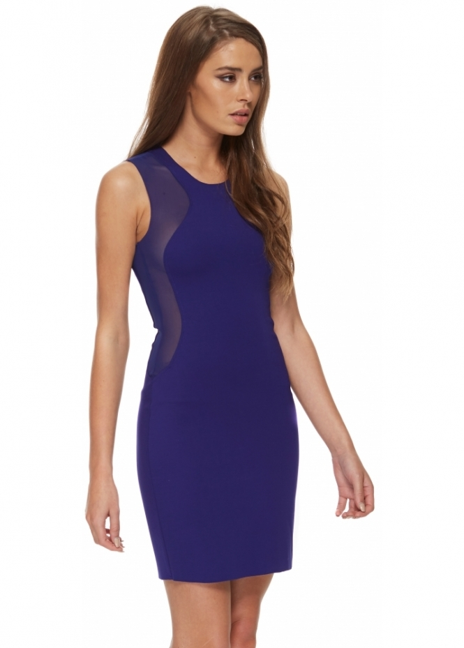 Silvian Heach Mikkiz Dress Blue Bodycon Mini With Mesh Inserts