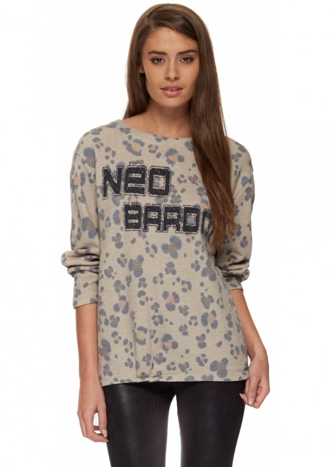 Brigitte Bardot Leopard Print Neo Bardot Cotton Sweat Top