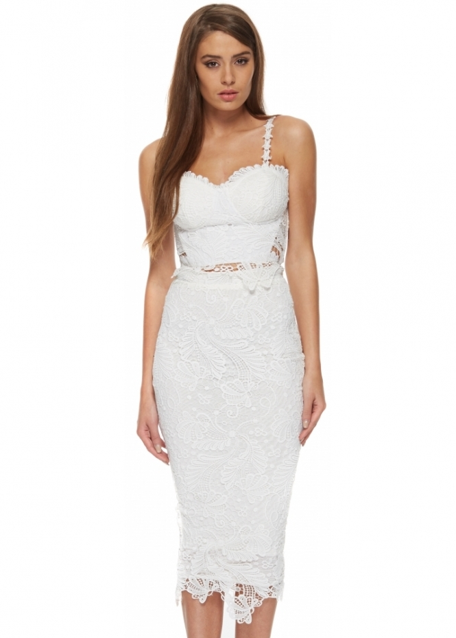 Portia & Scarlett Kimmy White Lace Two Piece Pencil Skirt & Top