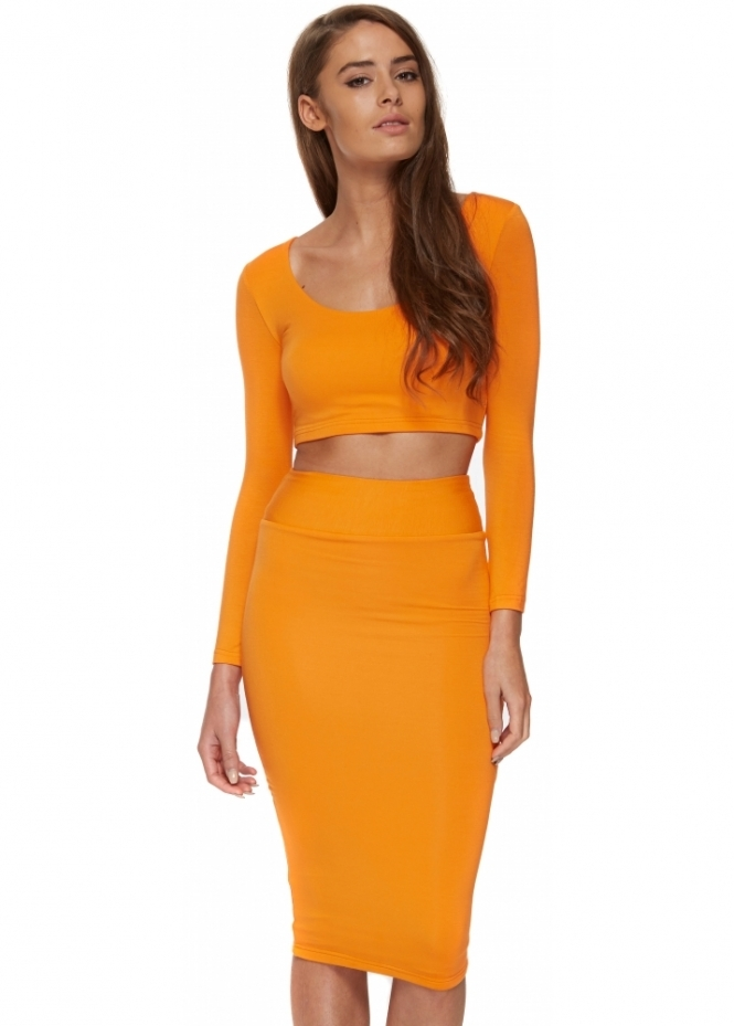 Portia & Scarlett Jessica Orange Two Piece Pencil Skirt & Cropped Top