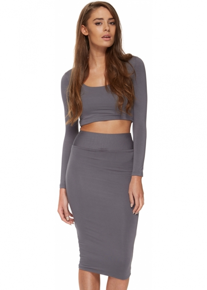 Portia & Scarlett Jessica Grey Two Piece Pencil Skirt & Cropped Top