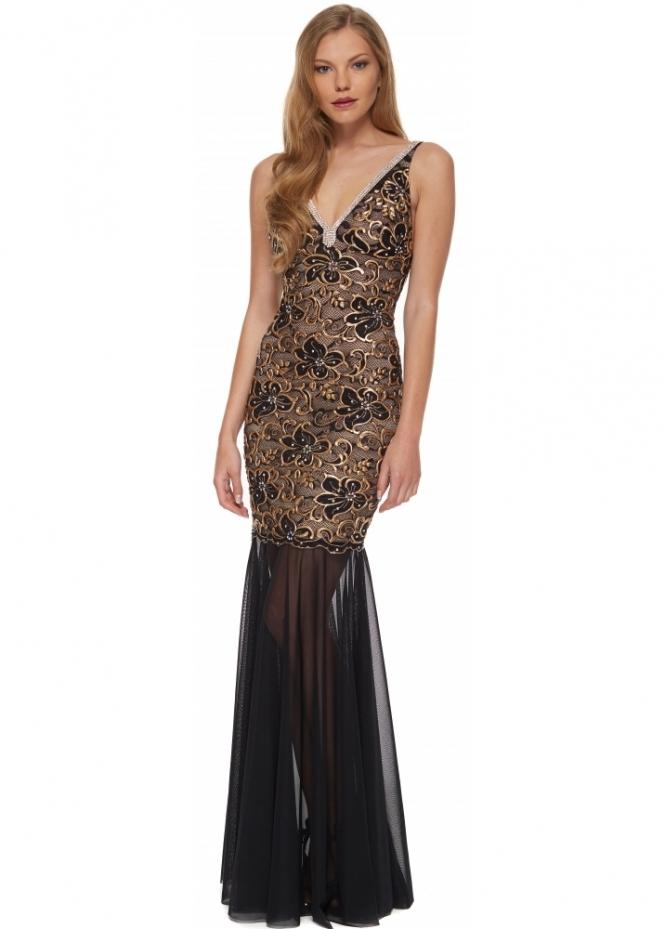 Baccio Couture Zara Long Dress In Gold | Baccio Black ...