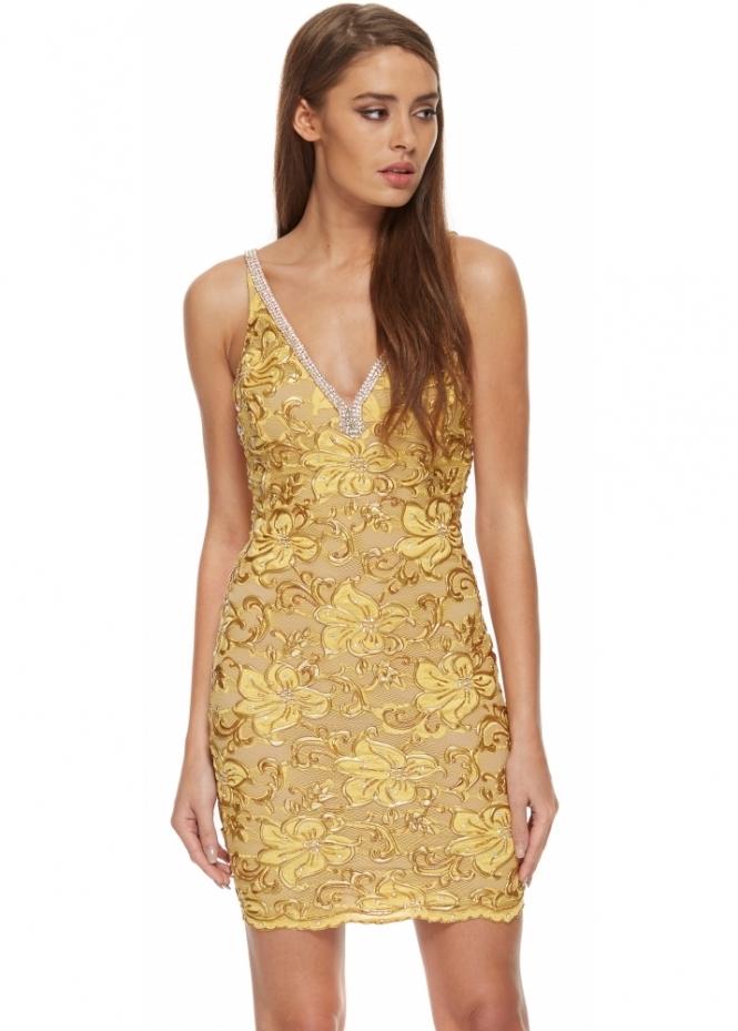 Baccio Zara Dress In Gold Lace Buy Baccio Couture Dresses
